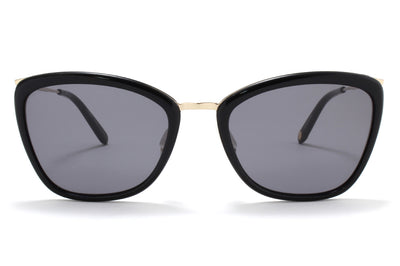 Garrett Leight® - Louella Sunglasses Black-Gold with Semi-Flat Black Lenses