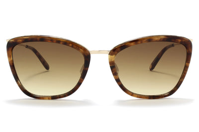 Garrett Leight® - Louella Sunglasses Brown Marble Tortoise-Gold with Semi-Flat Yellow Brown Gradient Lenses