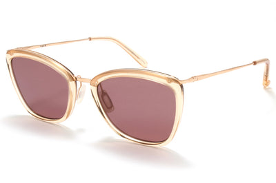 Garrett Leight® - Louella Sunglasses Pink Crystal-Rose Gold with Semi-Flat Lilac Lenses