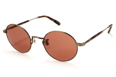 Garrett Leight - Lovers Sunglasses Antique Gold II-Brown Marble Tortoise with Pure Rosewood Lenses
