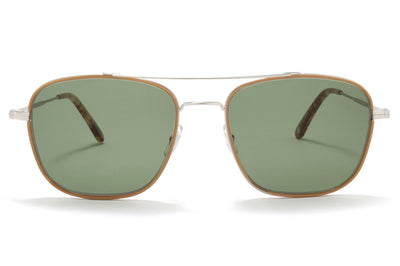 Garrett Leight® - Marr Sunglasses Camel-Brushed Silver with Semi-Flat Green Lenses
