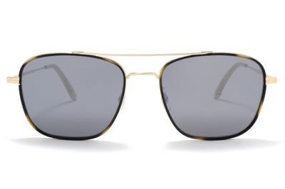Garrett Leight® - Marr Sunglasses Tiger Eye-Gold with Semi-Flat Matte Black Mirror Lenses