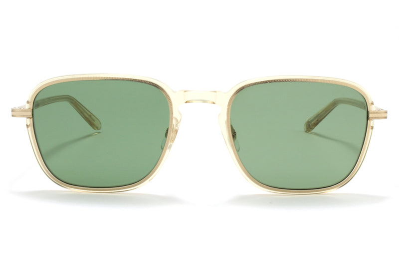 Garrett Leight® - Pier Sunglasses Champage-Gold with Semi-Flat Pure Green Lenses