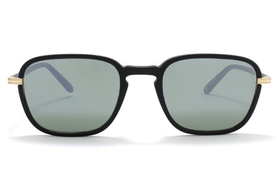 Garrett Leight® - Pier Sunglasses Matte Black-Gold with Semi-Flat G15 Silver Mirror Lenses