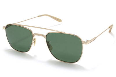 Garrett Leight® - Riviera Sunglasses Gold-Bone with Green Polar Lenses