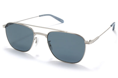 Garrett Leight® - Riviera Sunglasses Silver-Steel Blue with Blue Smoke Polar Lenses