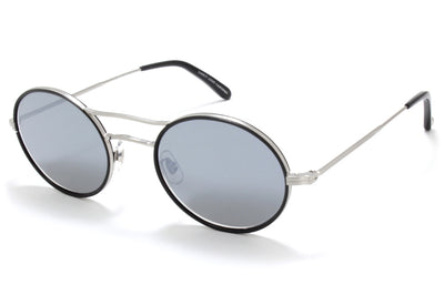Garrett Leight® - Sanborn Sunglasses Black-Brushed Silver with Semi-Flat Gunmetal Mirror Lenses