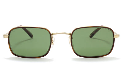 Garrett Leight® - Steiner Sunglasses Marigold Tortoise-Matte Gold with Pure Green Lenses