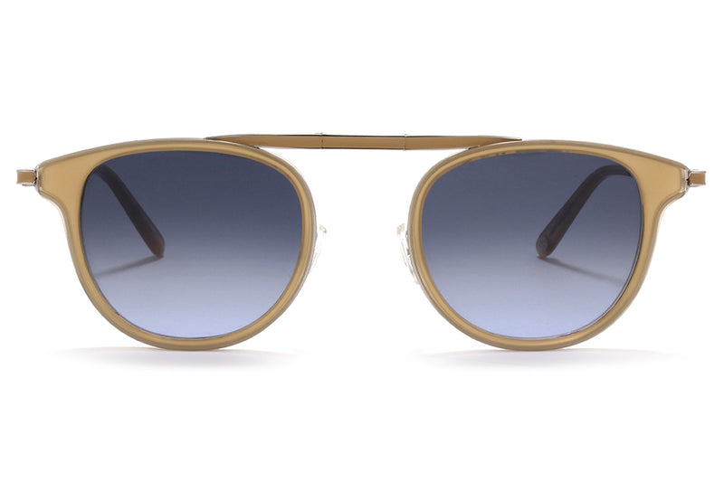 Garrett Leight® - Van Buren Combo Sunglasses Bone-Silver with Semi-Flat Navy Gradient Lenses