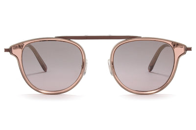Garrett Leight® - Van Buren Combo Sunglasses Desert Rose-Silver with Semi-Flat Purple Shadow Mirror Lenses
