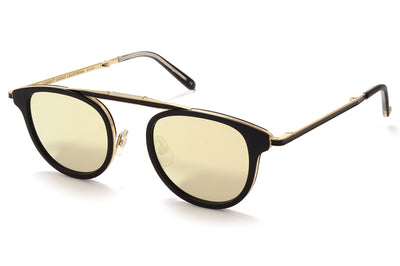 Garrett Leight® - Van Buren Combo Sunglasses Matte Black-Gold with Semi-Flat Gilt Gold Mirror Lenses