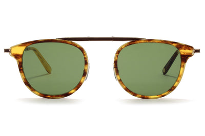 Garrett Leight® - Van Buren Combo Sunglasses Pinewood-Gold with Semi-Flat Pure Green Lenses