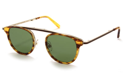 Pinewood-Gold with Semi-Flat Pure Green LensesGarrett Leight® - Van Buren Combo Sunglasses