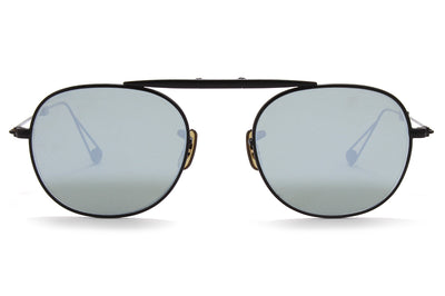 Garrett Leight® - Van Buren Sunglasses Black with Flat Vinyl Mirror Lenses