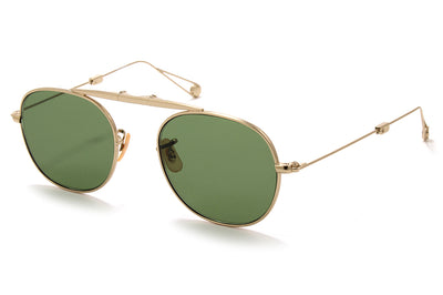 Garrett Leight® - Van Buren Sunglasses Gold with Flat Pure Green Lenses