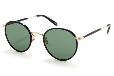 Garrett Leight - Wilson Sunglasses Black-Gold-Black with Semi-Flat Pure G15 Lenses