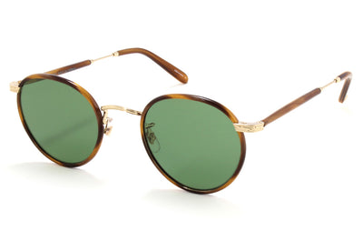 Garrett Leight - Wilson Sunglasses Demi Blonde-Gold-True Demi with Semi-Flat Pure Green Lenses