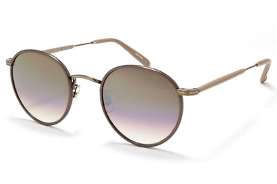 Garrett Leight® - Wilson Sunglasses Brown Pearl-Brushed Gold-Powder Mauve with Sunset Gradient Lenses