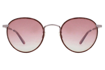 Garrett Leight - Wilson Sunglasses Burgundy Marble with Matte Wine Mirror Lenses