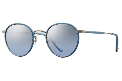 Garrett Leight - Wilson Sunglasses Denim-Brushed Silver-Powder Blue with Blue Shadow Gradient Lenses