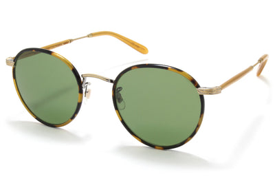 Garrett Leight® - Wilson Sunglasses Tokyo Tortoise-Amber Honey with Pure Green Glass Lenses