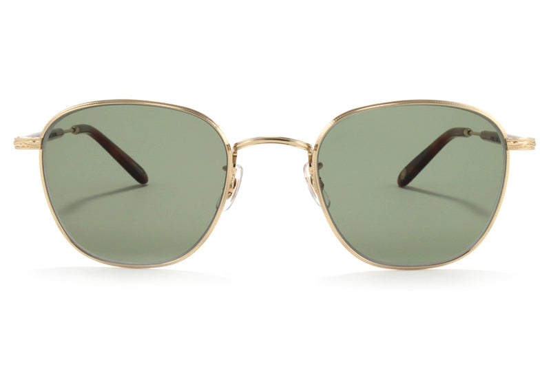 Garrett Leight - World Sunglasses Gold-Dark Honey Tortoise with Semi-Flat Green Lenses
