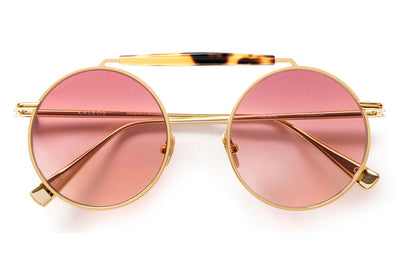 Kaleos Eyehunters - Noland Sunglasses Gold with Pink Lenses