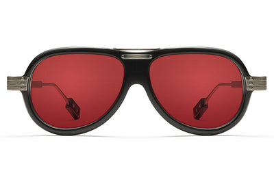 Black with Solid Red Lenses