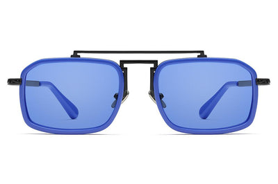 Black Matte/Electric Blue with Electric Blue Solid Lenses