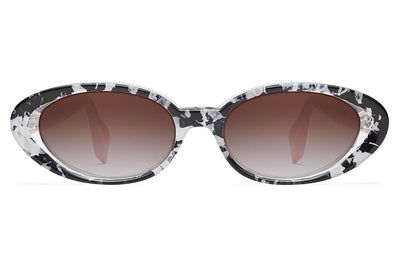 Morgenthal Frederics x Rosie Assoulin - Jawbreaker Sunglasses Black White Flake/Babydoll with Grey Gradient Lenses