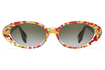 Morgenthal Frederics x Rosie Assoulin - Jawbreaker Sunglasses Fire Crystal/Army with G15 Gradient Lenses