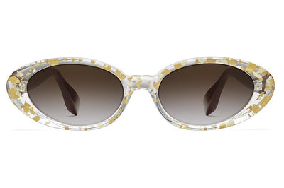 Morgenthal Frederics x Rosie Assoulin - Jawbreaker Sunglasses Gold Flake/Burlwood with Brown Gradient Lenses