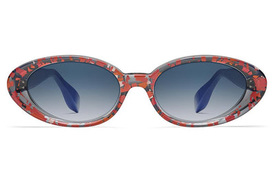 Morgenthal Frederics x Rosie Assoulin - Jawbreaker Sunglasses Red Smoke/Electric Blue with Blue Gradient Lenses