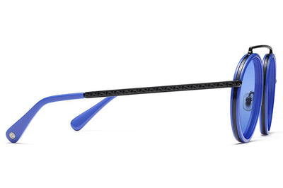 Morgenthal Frederics x Rosie Assoulin - Sunny S-Eyed Up Sunglasses Black Matte/Electric Blue with Electric Blue Solid Lenses