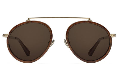 Morgenthal Frederics x Rosie Assoulin - Sunny S-Eyed Up Sunglasses Gold/Burlwood with Brown Solid Lenses