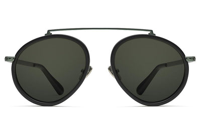 Morgenthal Frederics x Rosie Assoulin - Sunny S-Eyed Up Sunglasses Green/Matte Black with Grey Solid Lenses
