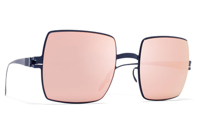 MYKITA & Bernhard Willhelm  - Dusty F65 Navy Blue with Rose Gold Flash Lenses