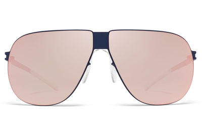 MYKITA & Bernhard Willhelm - Ferdl Sunglasses F65 Navy Blue with Rose Gold Flash Lenses