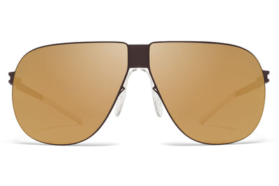 MYKITA & Bernhard Willhelm - Ferdl Sunglasses F70 Ebony Brown with Gold Flash Lenses