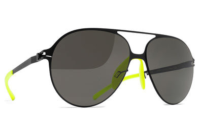 MYKITA & Bernhard Willhelm - Hansi Sunglasses F25 Matte Black with Dark Grey Solid Lenses