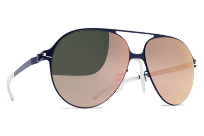 MYKITA & Bernhard Willhelm - Hansi Sunglasses F65 Navy Blue with Rose Gold Flash Lenses