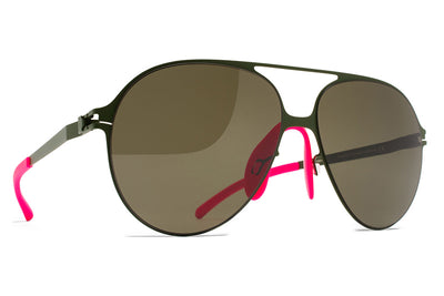 MYKITA & Bernhard Willhelm - Hansi Sunglasses F66 Olive with Raw Green Solid Lenses