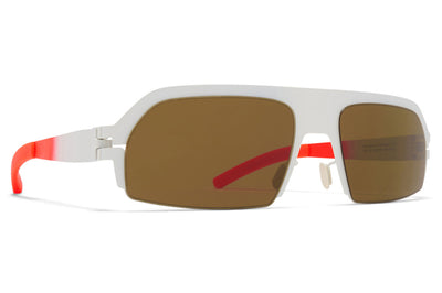 MYKITA & Bernhard Willhelm - Lost Sunglasses Talc/Fluo Red with Raw Brown Solid Lenses