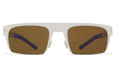 MYKITA & Bernhard Willhelm - New Sunglasses Talc/Neon Blue with Raw Brown Solid Lenses
