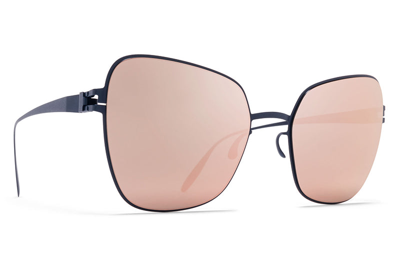 MYKITA & Bernhard Willhelm - Peggy Sunglasses F65 Navy Blue with Rose Gold Flash Lenses