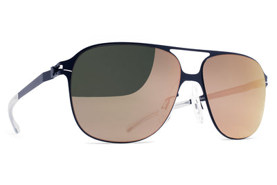 MYKITA & Bernhard Willhelm - Schorsch Sunglasses F65 Navy Blue with Rose Gold Flash Lenses
