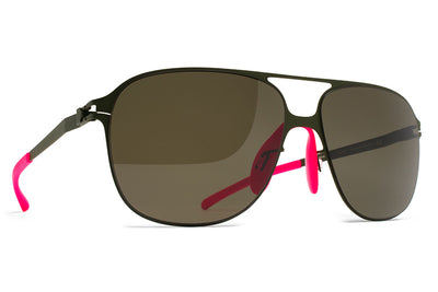 MYKITA & Bernhard Willhelm - Schorsch Sunglasses F66 Olive with Raw Green Solid Lenses