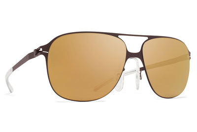 MYKITA & Bernhard Willhelm - Schorsch Sunglasses F70 Ebony Brown with Gold Flash Lenses