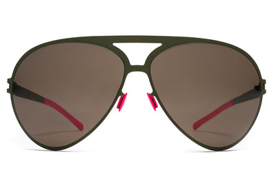 MYKITA & Bernhard Willhelm - Sepp Sunglasses F66 Olive with Dark Brown Solid Lenses