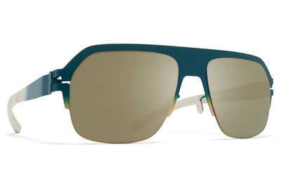 MYKITA - Super Sunglasses Emerald/Gold/Chantilly White with Fir Flash Lenses